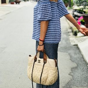 Authentic Chanel In The Mix Tote Beige